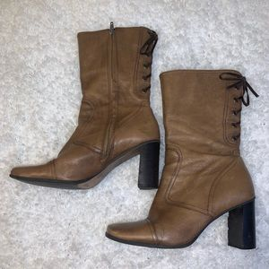 Real Leather Distressed Heeled Boots Lace Up Back